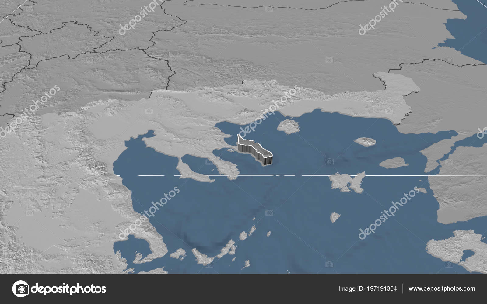 Ayion Oros Region Greece Extruded Bilevel Elevation Map Stock