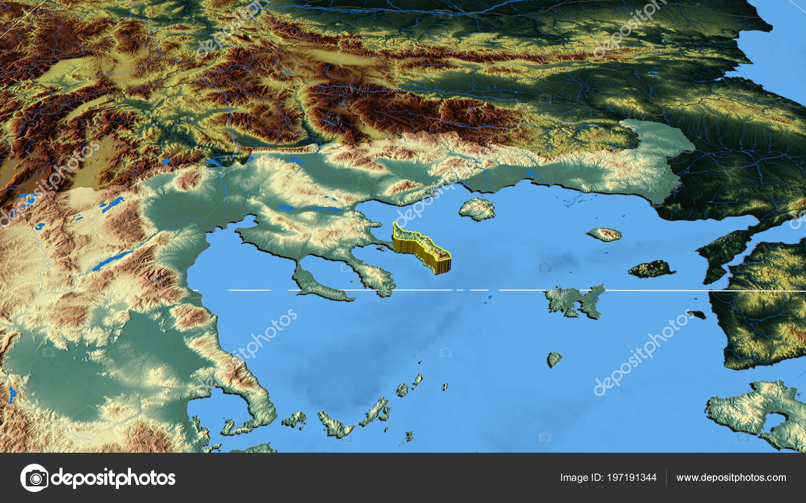 Ayion Oros Region Greece Extruded Color Physical Map — Stock Photo ...