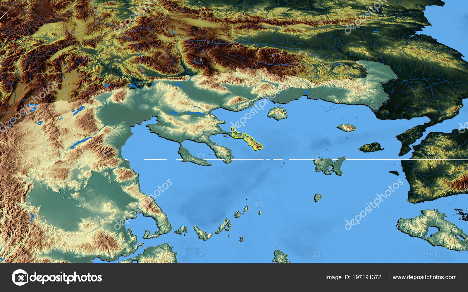Ayion Oros Region Greece Outlined Color Physical Map — Stock Photo ...