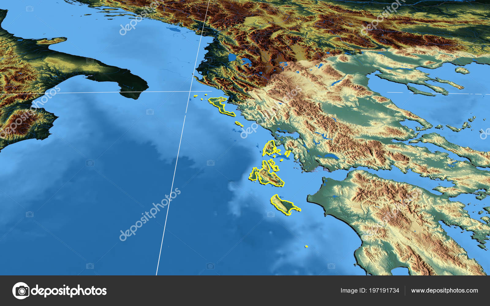 Ionioi Nisoi Region Greece Outlined Color Physical Map — Stock Photo ...