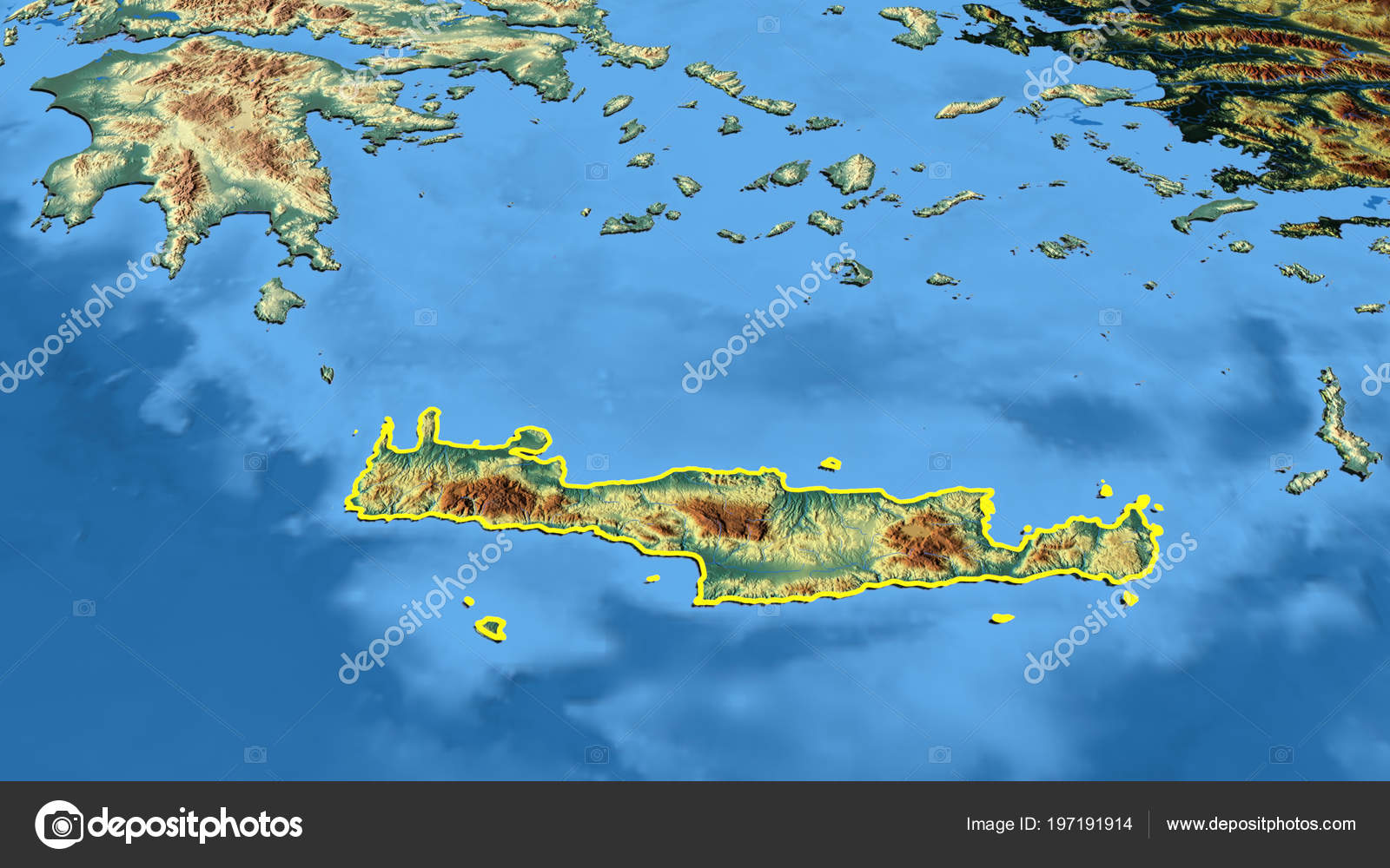 Kriti Region Greece Outlined Color Physical Map — Stock Photo ...