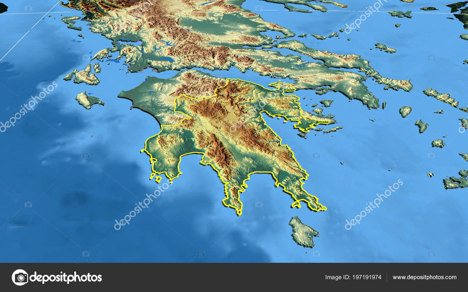Peloponnisos Region Greece Outlined Color Physical Map — Stock Photo ...
