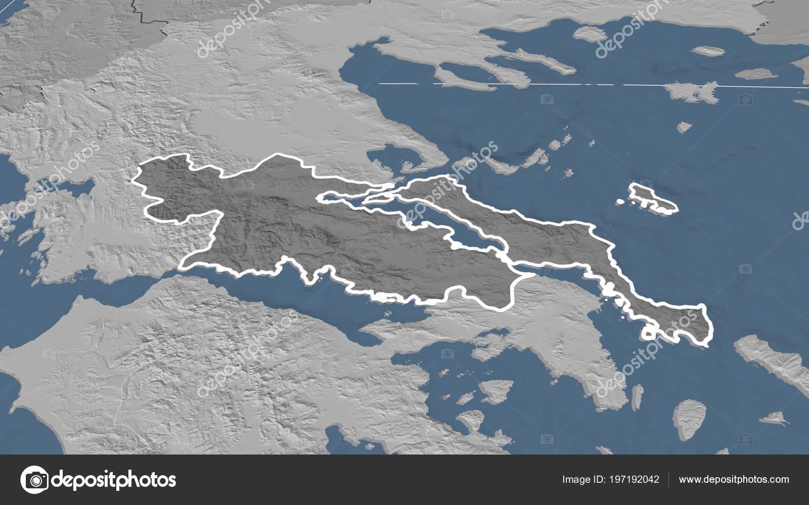 Sterea Ellada Region Greece Outlined Bilevel Elevation Map Stock