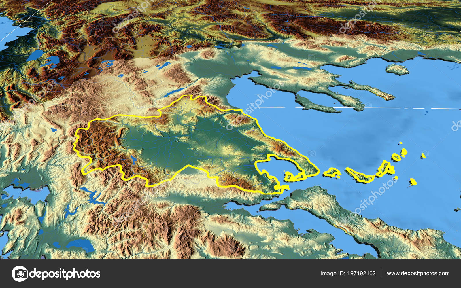 Thessalia Region Greece Outlined Color Physical Map — Stock Photo ...