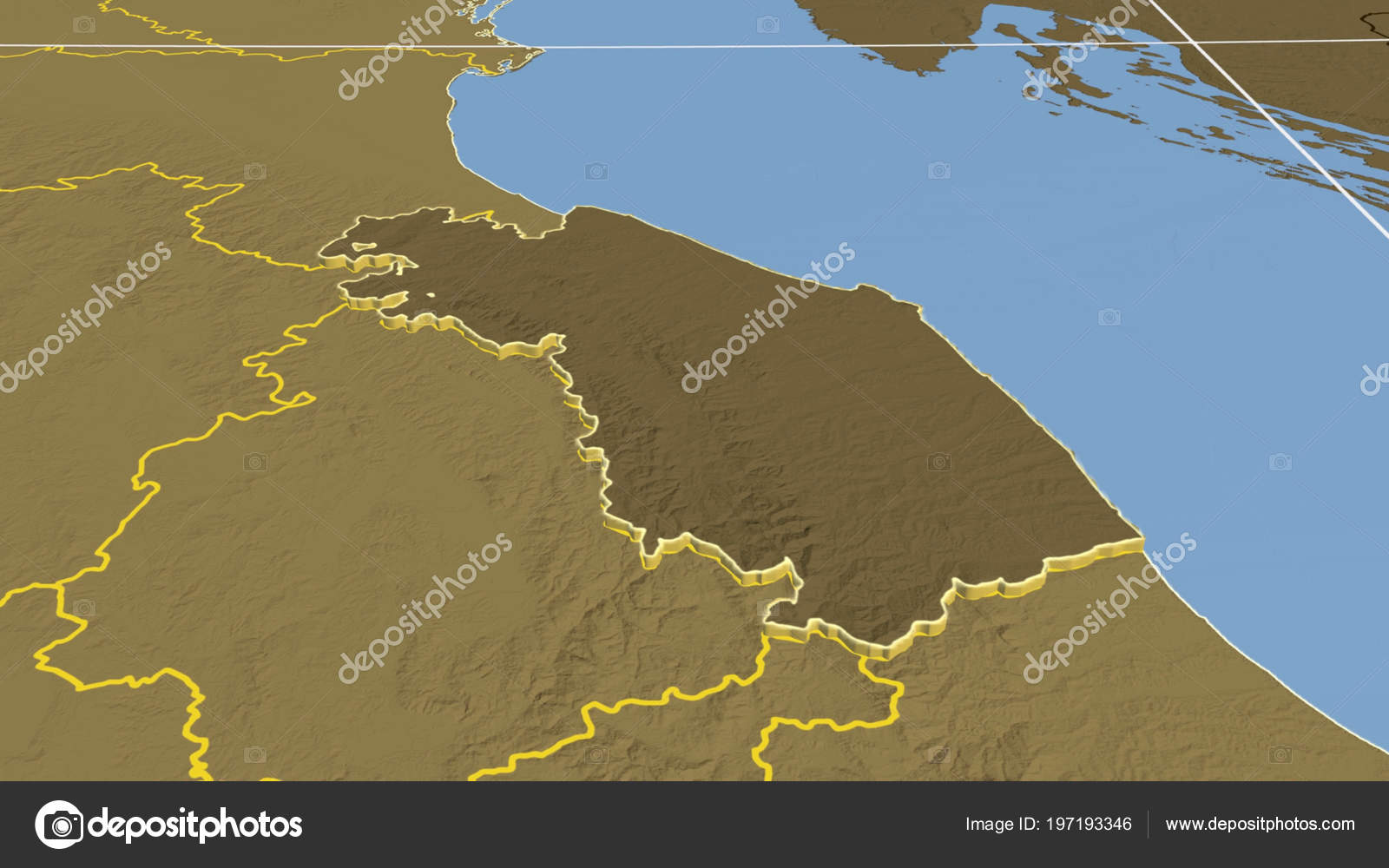 Marche Region Italy Map.Marche Region Italy Extruded Bilevel Elevation Map Stock Photo