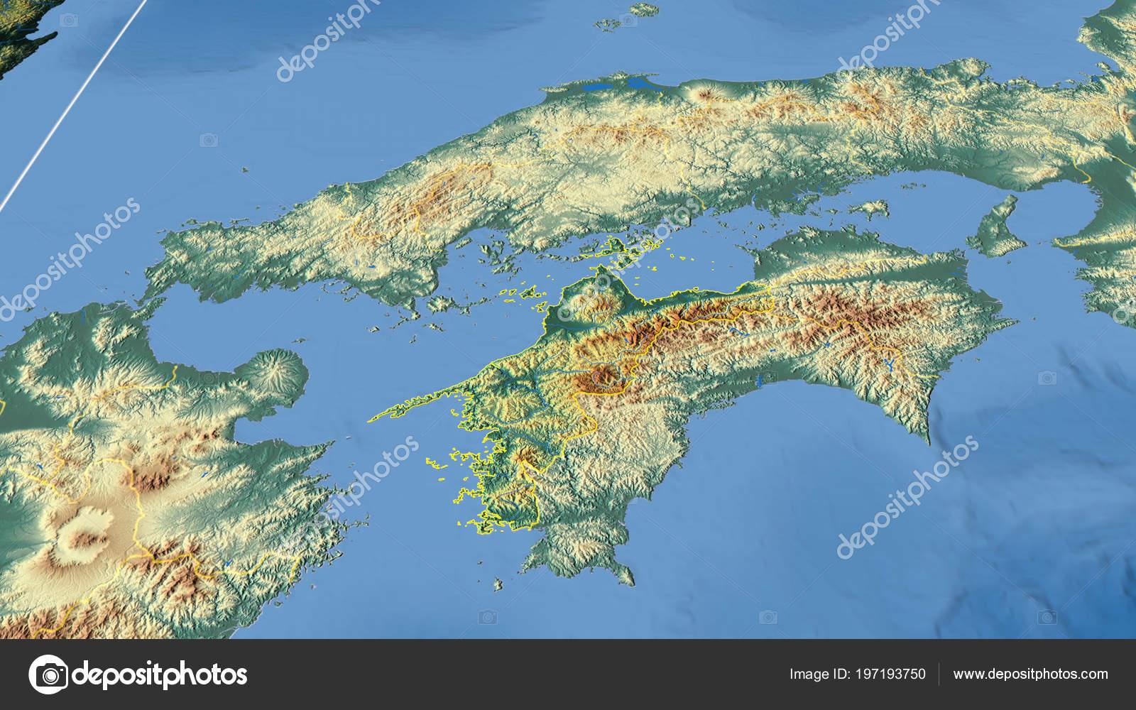 Japan Karte Physisch.Ehime Region Japan Beschrieben Physische Karte Der Farbe