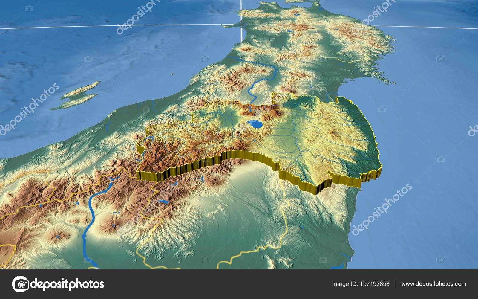 Japan Karte Physisch.Fukushima Extrudiert Region Japans Physische Karte Der Farbe