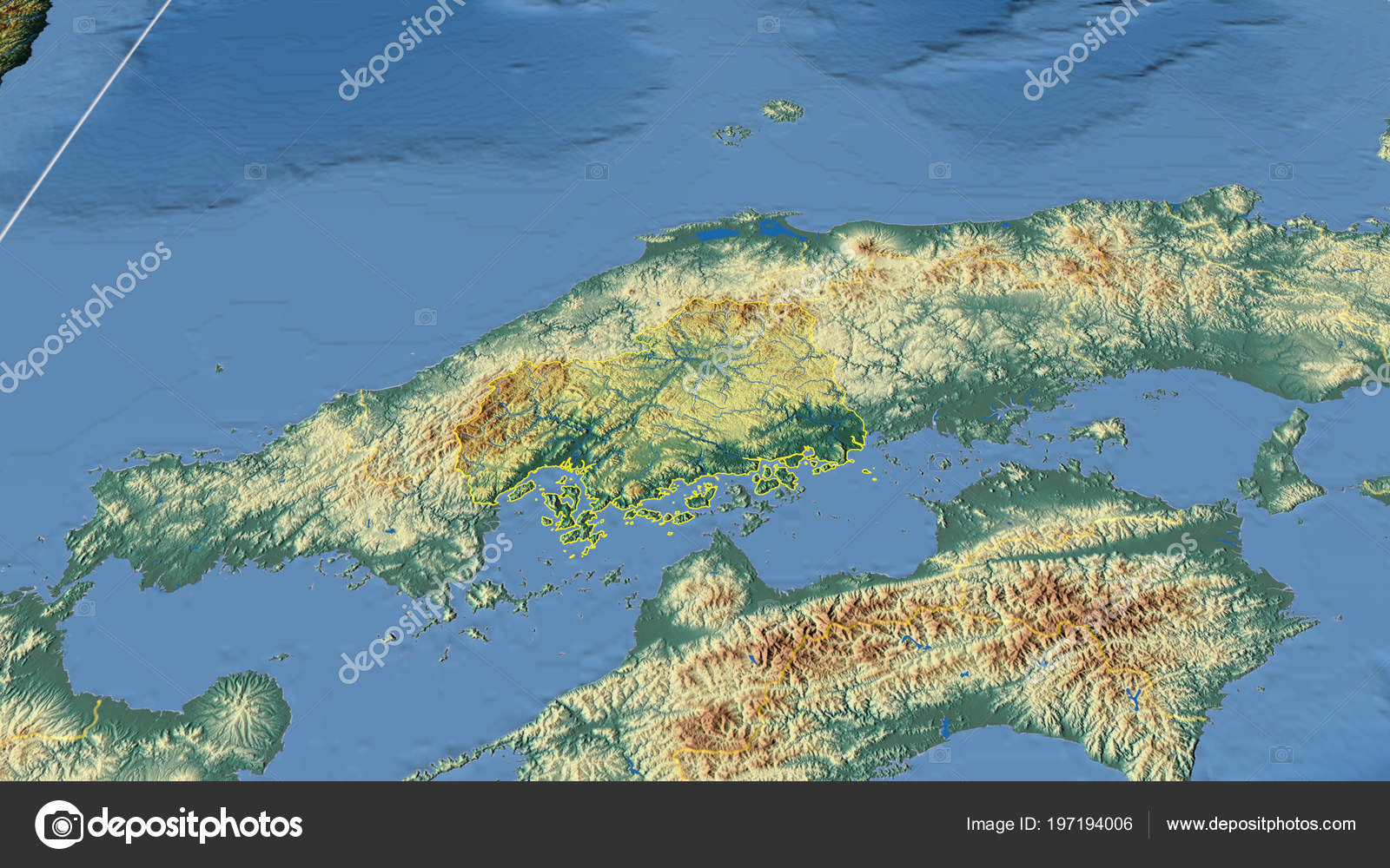 Japan Karte Physisch.Hiroshima Region Japan Beschrieben Physische Karte Der Farbe
