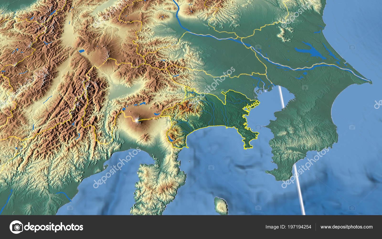 Japan Karte Physisch.Kanagawa Region Japan Beschrieben Physische Karte Der Farbe