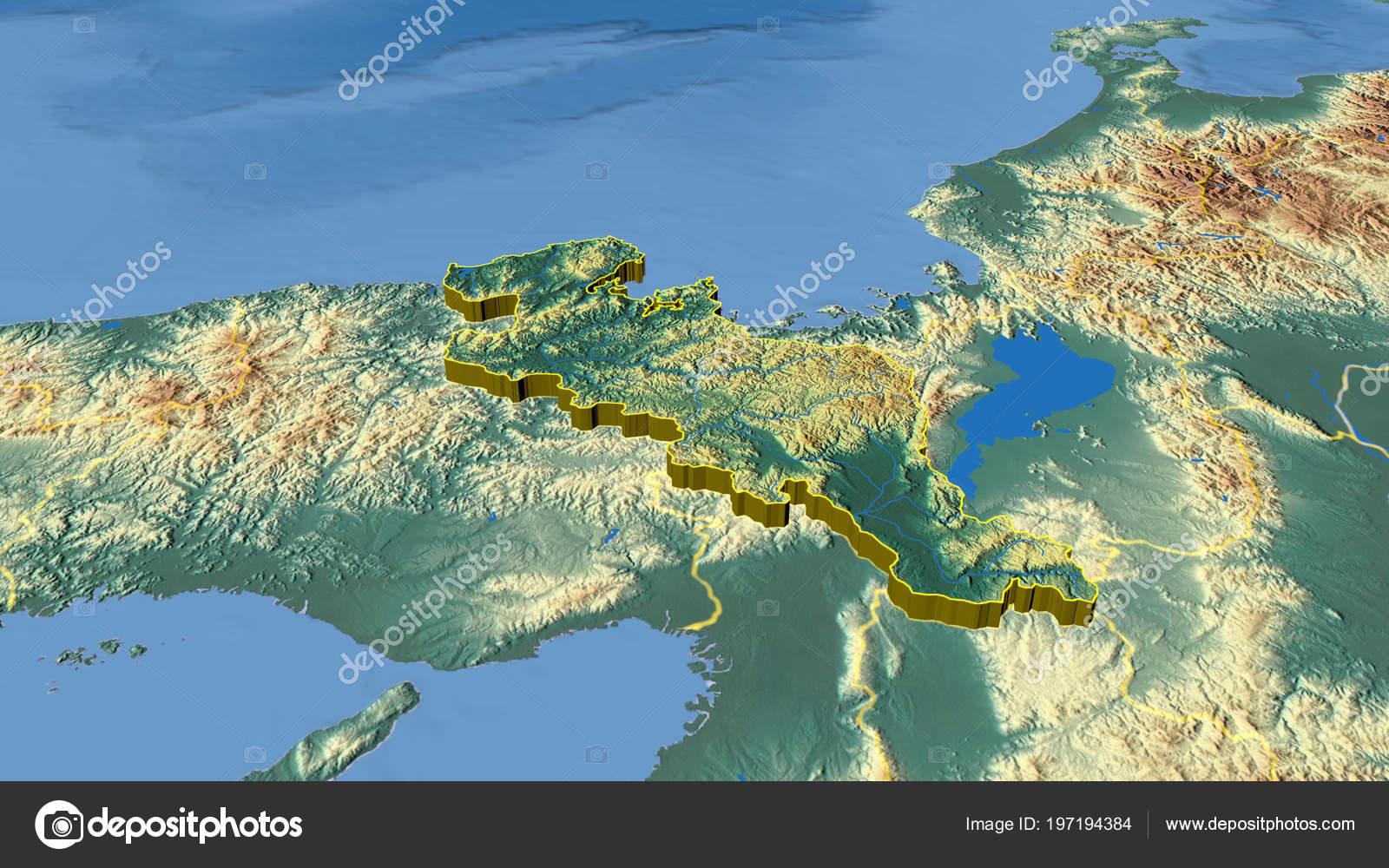 Japan Karte Physisch.Kyoto Extrudiert Region Japans Physische Karte Der Farbe Stockfoto