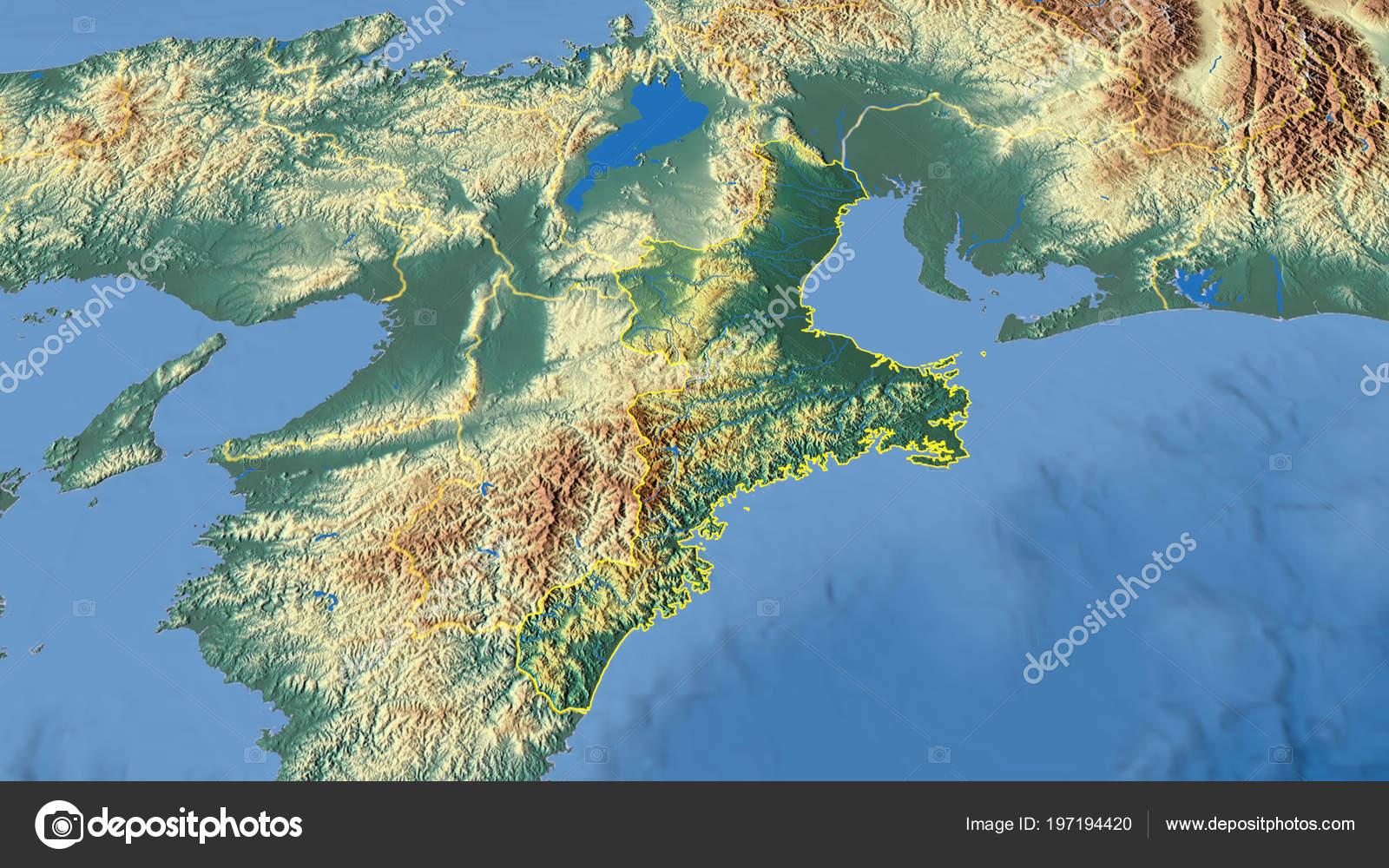 Japan Karte Physisch.Mie Region Japan Beschrieben Physische Karte Der Farbe Stockfoto