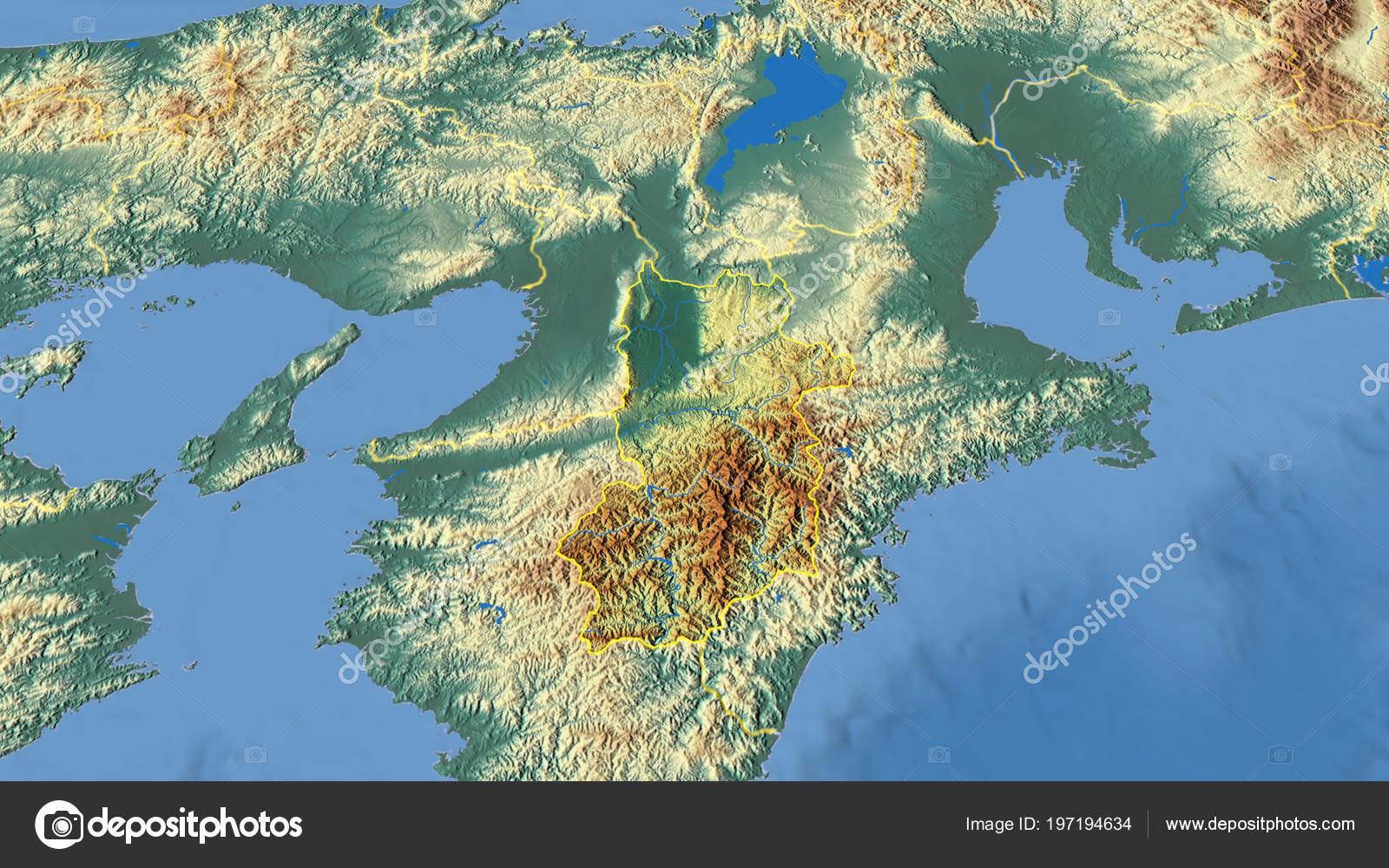 Japan Karte Physisch.Nara Region Japan Beschrieben Physische Karte Der Farbe