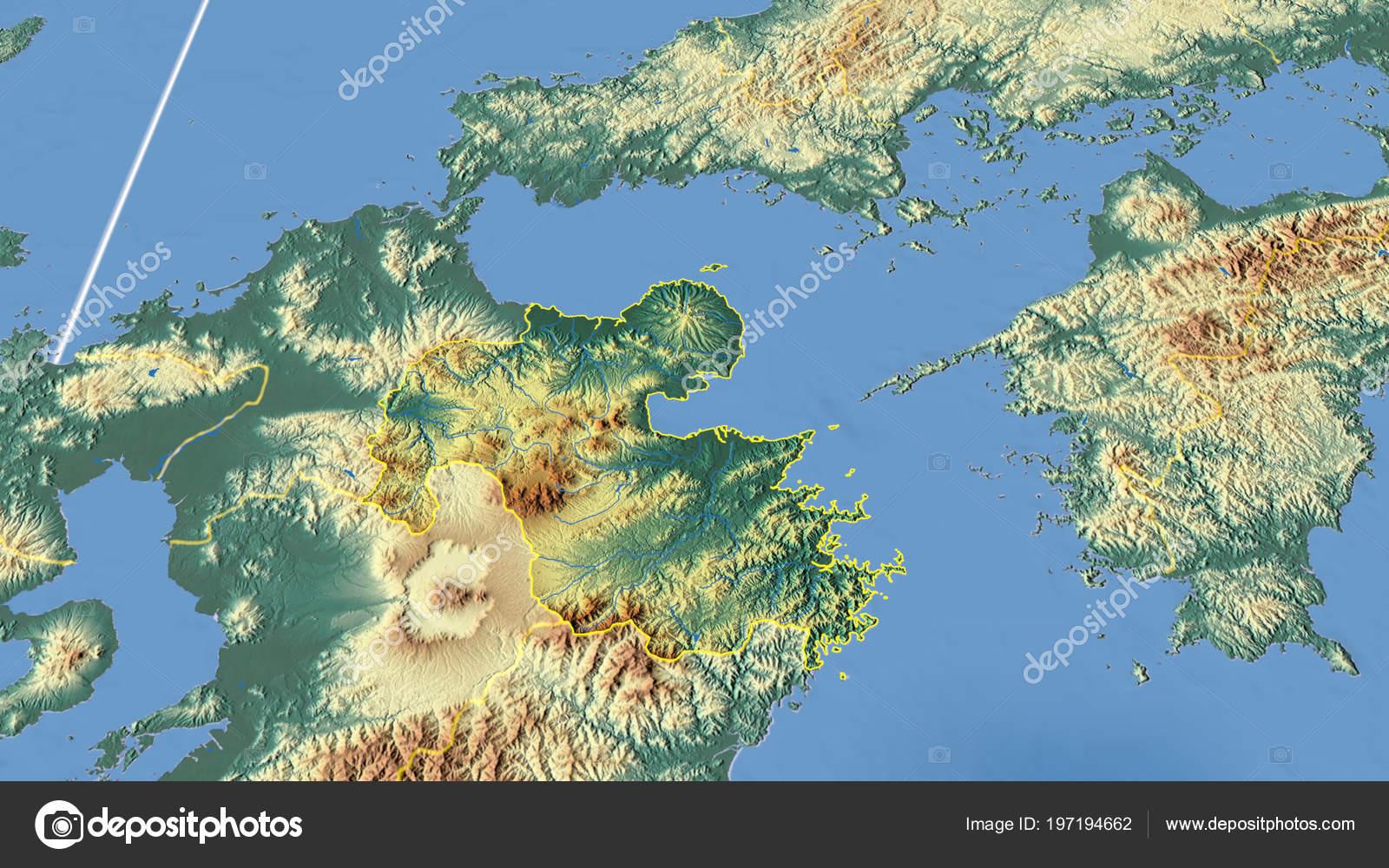 Japan Karte Physisch.Oita Region Japan Beschrieben Physische Karte Der Farbe Stockfoto