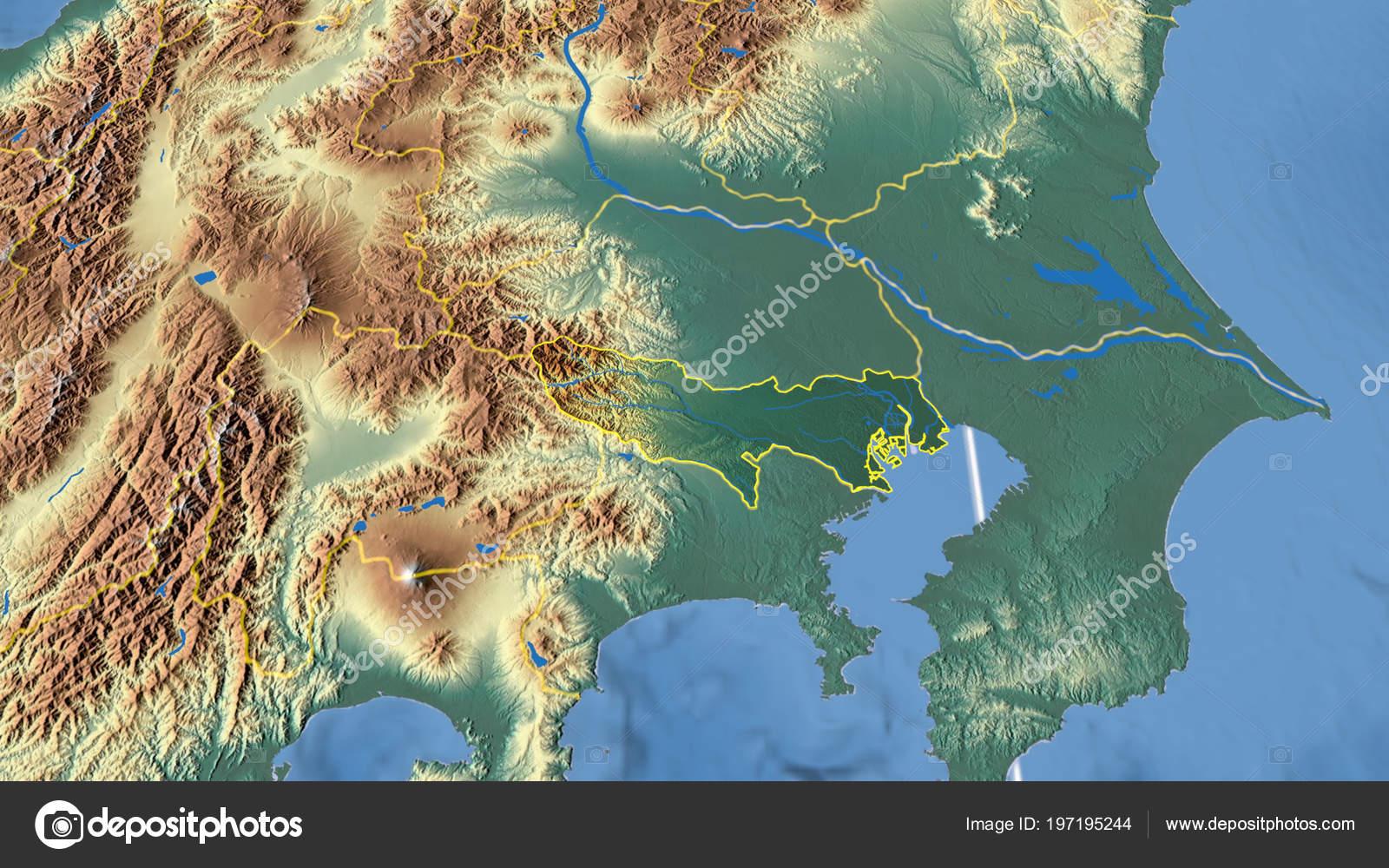 Japan Karte Physisch.Tokyo Region Japan Beschrieben Physische Karte Der Farbe