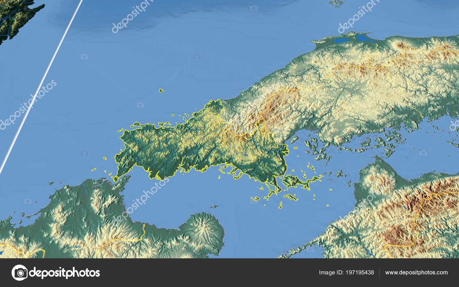 Japan Karte Physisch.Yamaguchi Region Japan Beschrieben Physische Karte Der Farbe