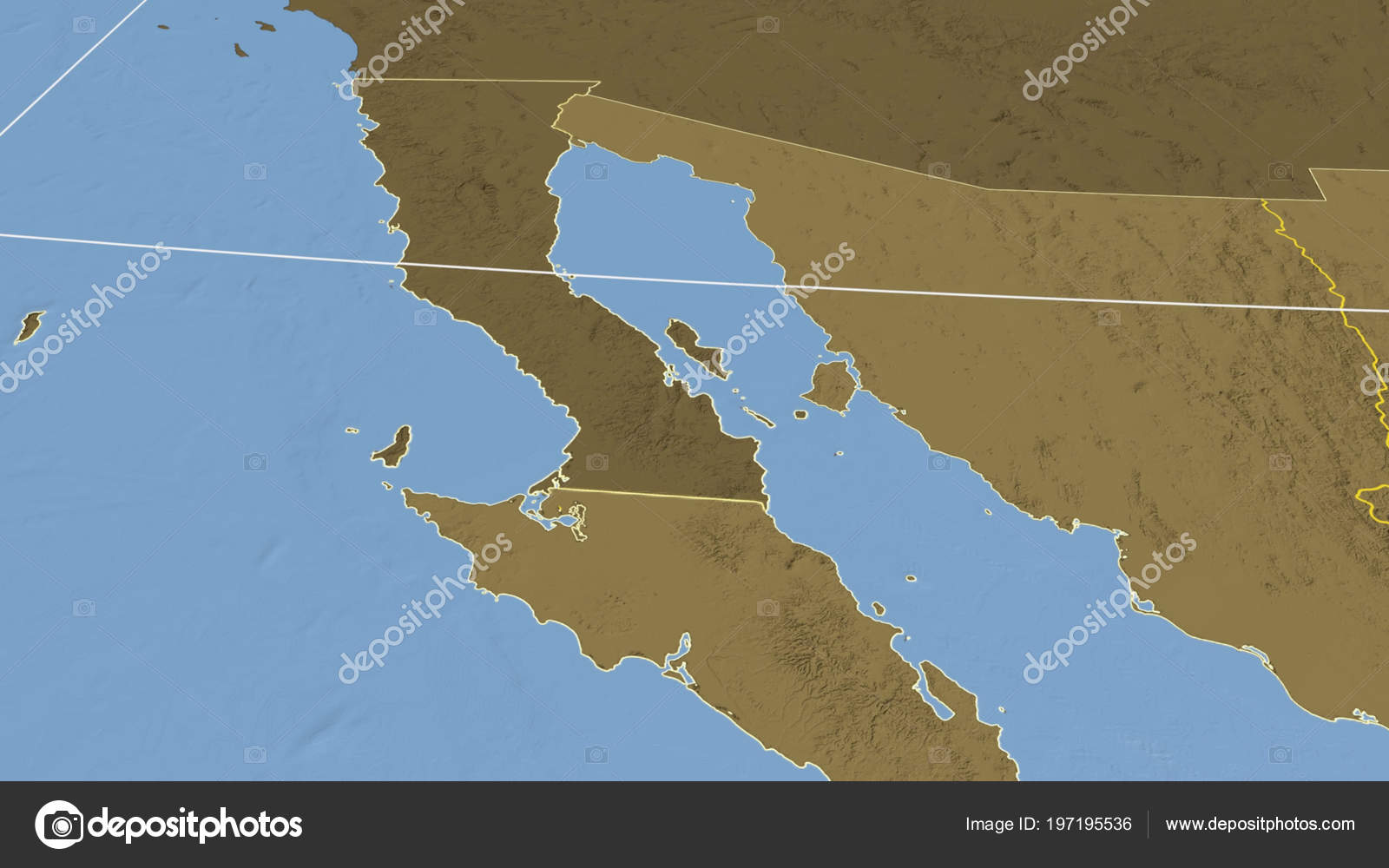 Baja California Region Mexico Outlined Bilevel Elevation Map — Stock ...