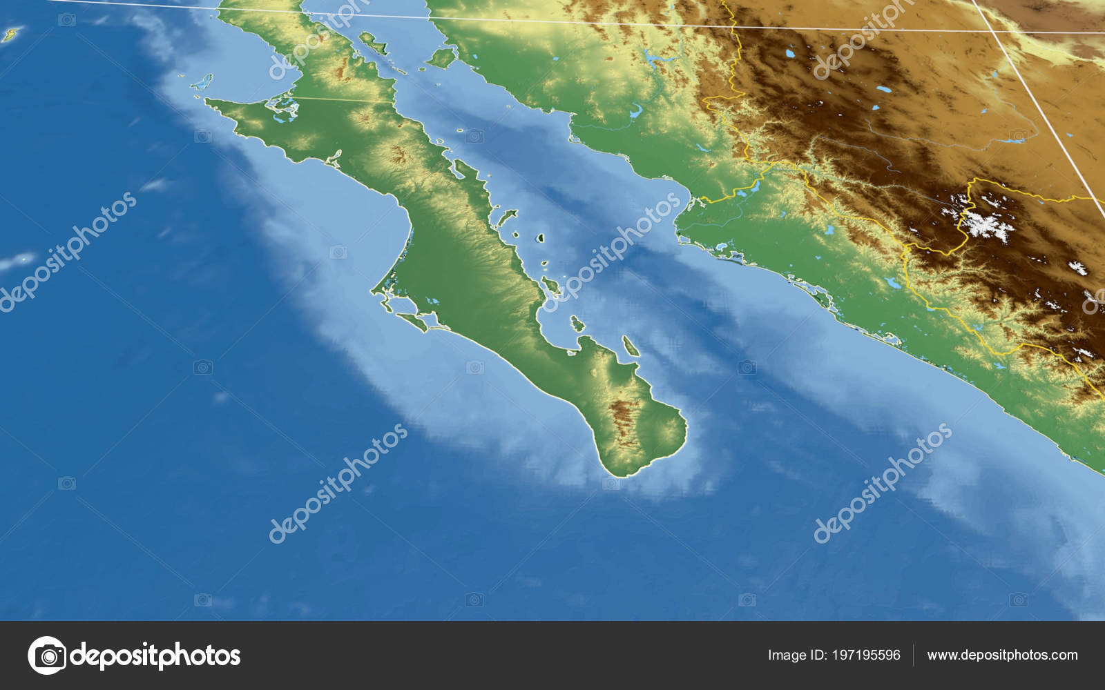 Baja California Sur Region Mexico Outlined Color Physical Map ...