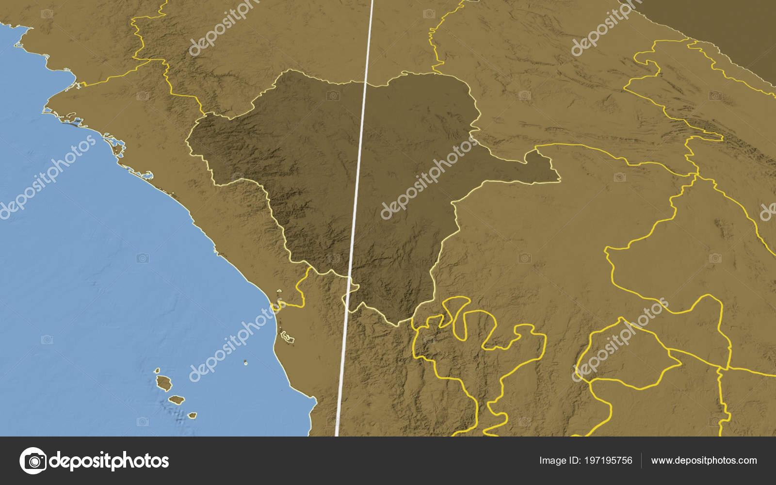 Durango Region Mexico Outlined Bilevel Elevation Map — Stock Photo ...