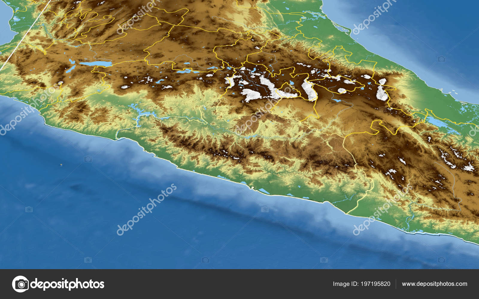 Guerrero Region Mexico Outlined Color Physical Map — Stock Photo ...