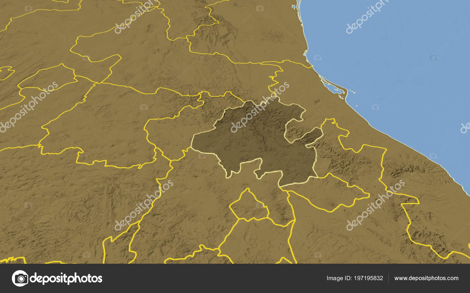 Hidalgo Region Mexico Outlined Bilevel Elevation Map — Stock Photo ...
