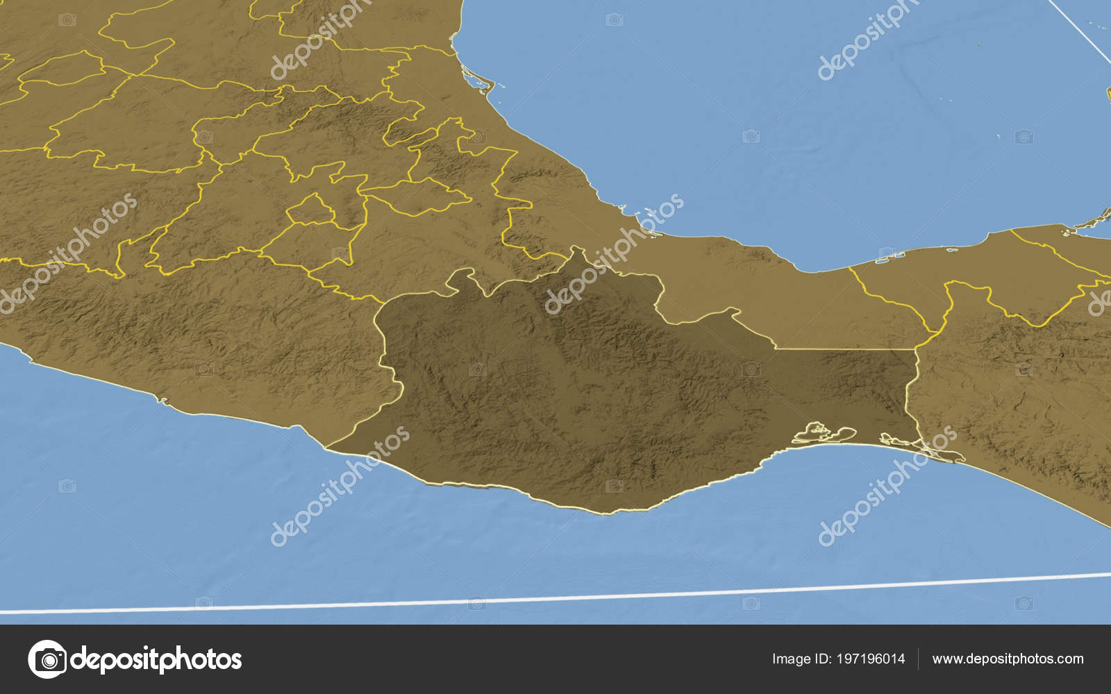 Oaxaca Region Mexico Outlined Bilevel Elevation Map — Stock Photo ...