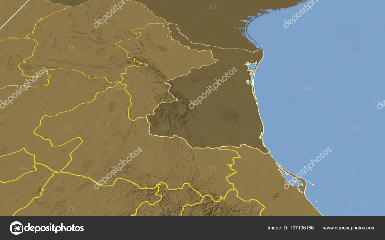 Tamaulipas Region Mexico Outlined Bilevel Elevation Map — Stock ...
