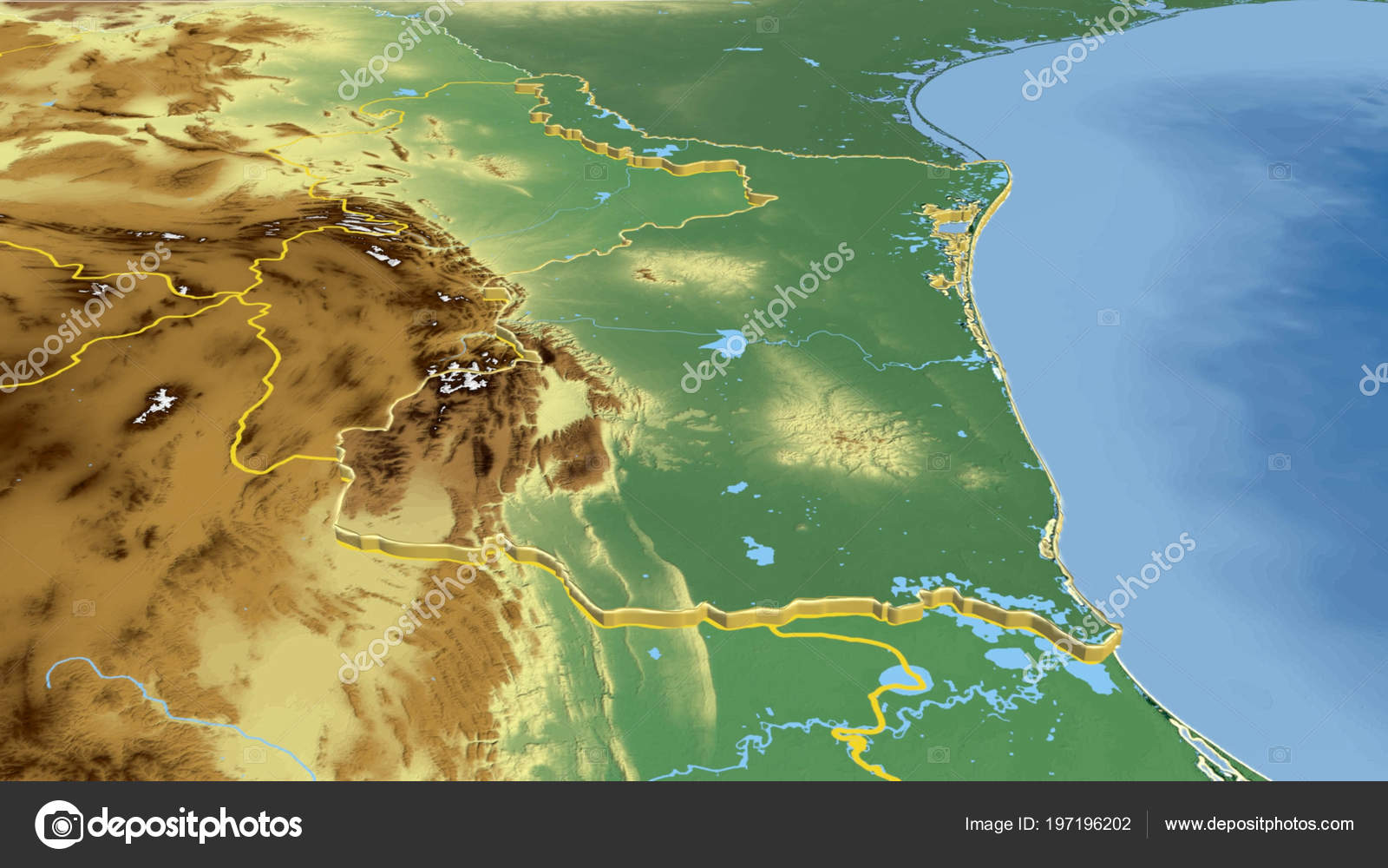 Tamaulipas Region Mexico Extruded Color Physical Map — Stock ...