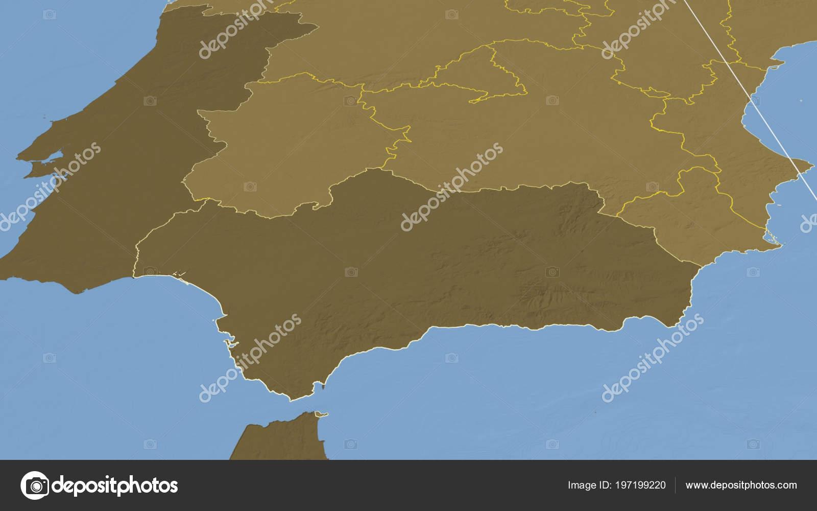 Andaluzia Regiao Espanha Que Delineou Mapa Elevacao Dois Niveis