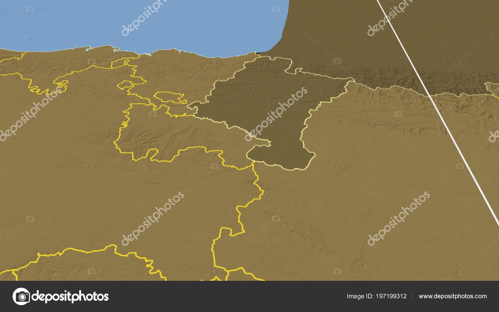 Comunidad Foral Navarra Region Spain Outlined Bilevel Elevation Map