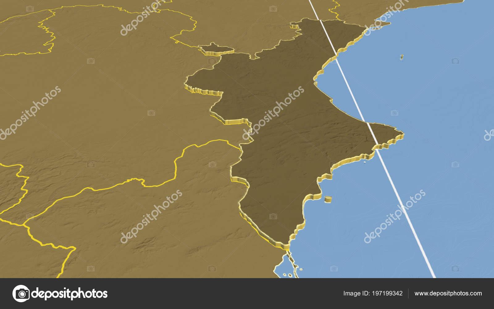 Elevation Map Of Spain.Comunidad Valenciana Region Spain Extruded Bilevel Elevation Map