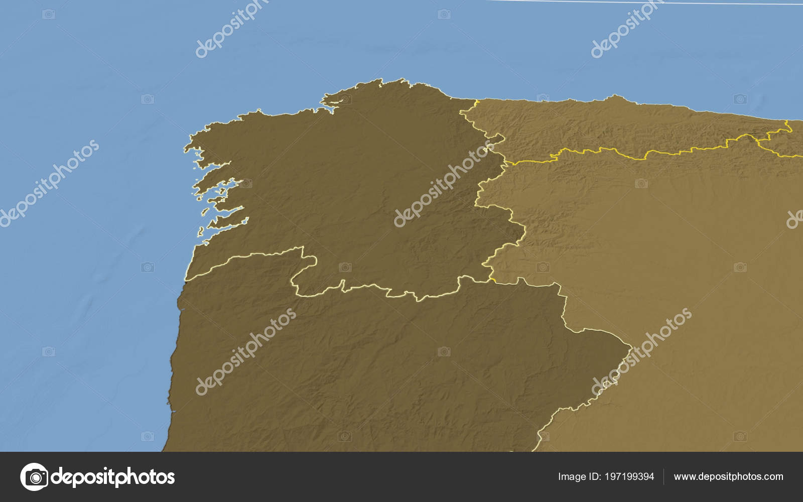 Elevation Map Of Spain.Galicia Region Spain Outlined Bilevel Elevation Map Stock Photo
