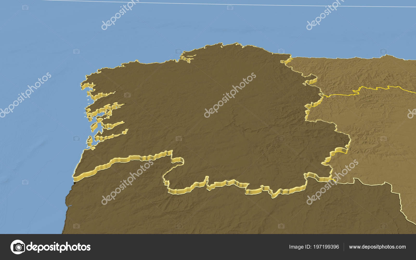 Elevation Map Of Spain.Galicia Region Spain Extruded Bilevel Elevation Map Stock Photo