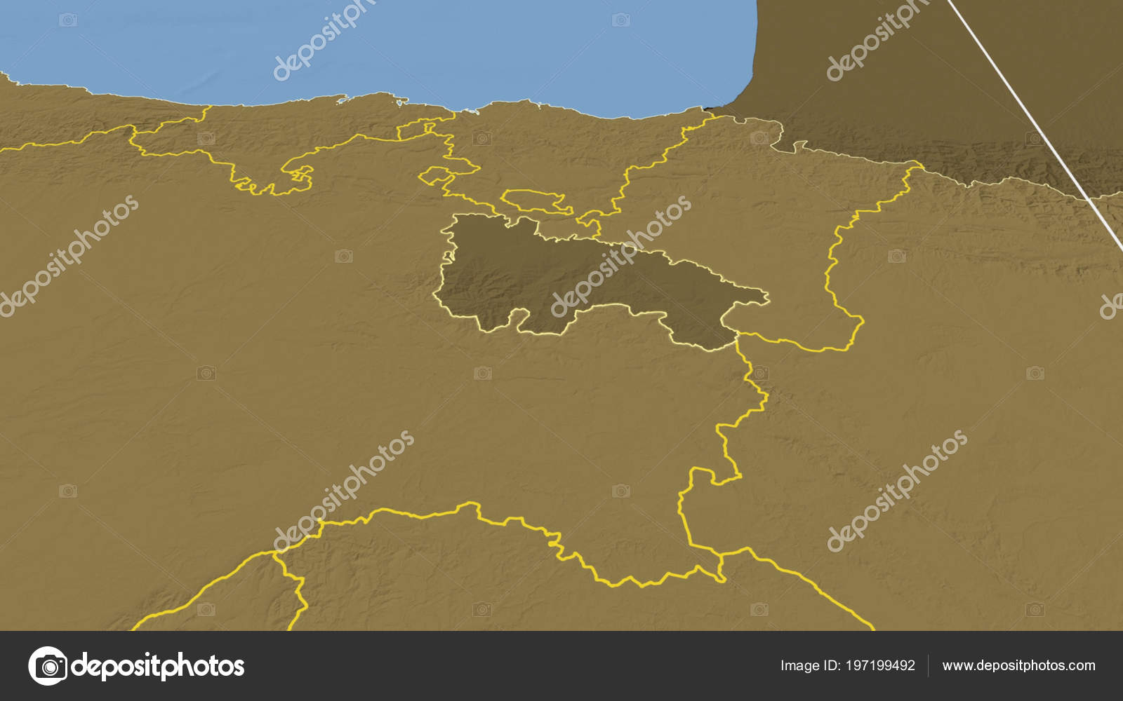 Rioja Region Spain Map.Rioja Region Spain Outlined Bilevel Elevation Map Stock Photo