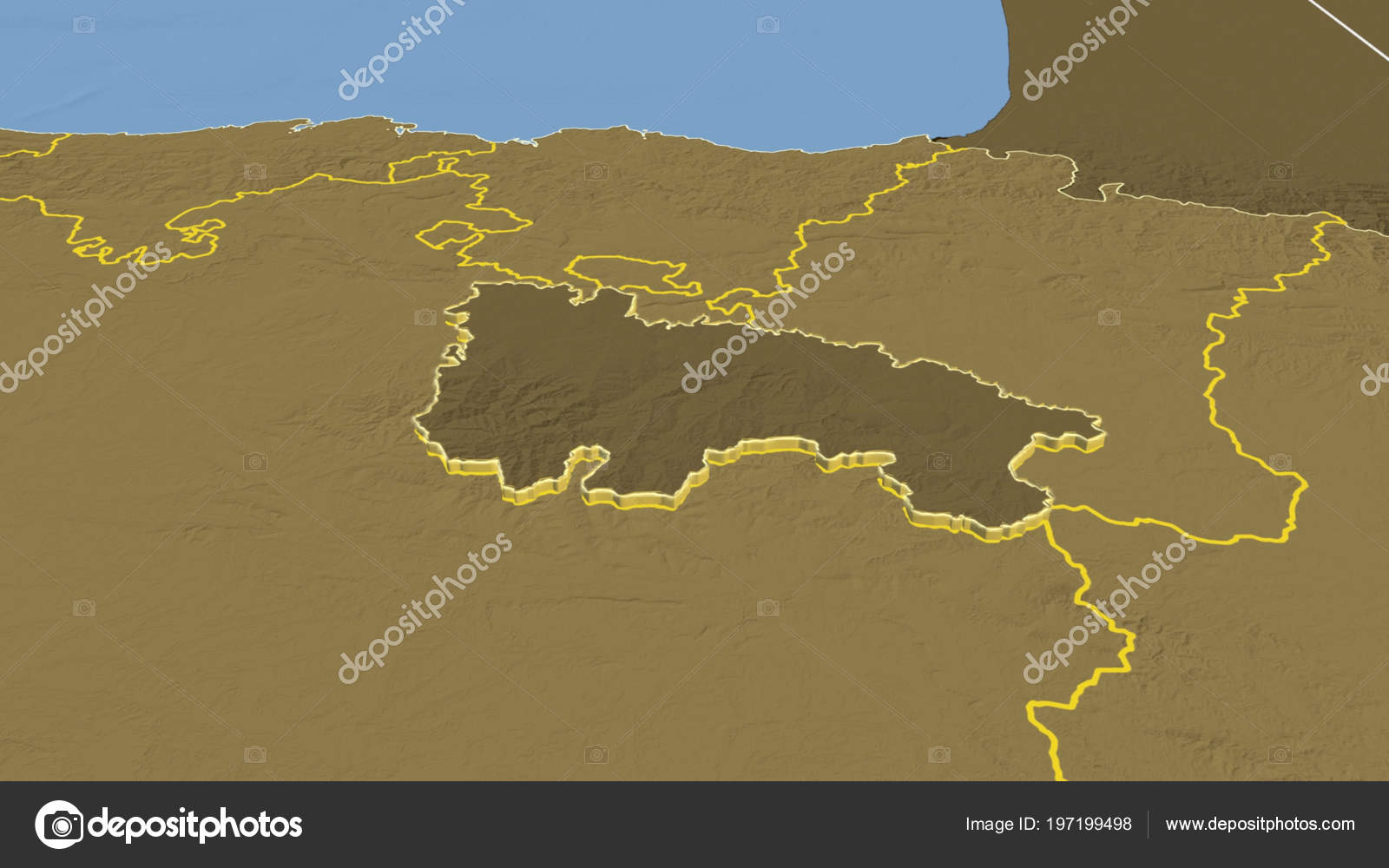 Rioja Region Spain Map.Rioja Region Spain Extruded Bilevel Elevation Map Stock Photo