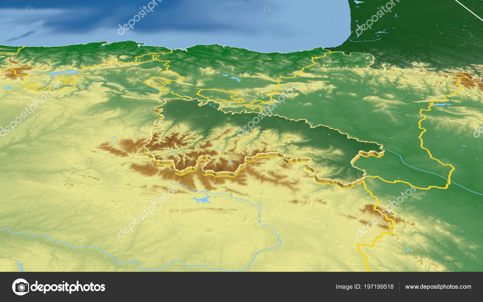 Rioja Region Spain Map.Rioja Region Spain Extruded Color Physical Map Stock Photo