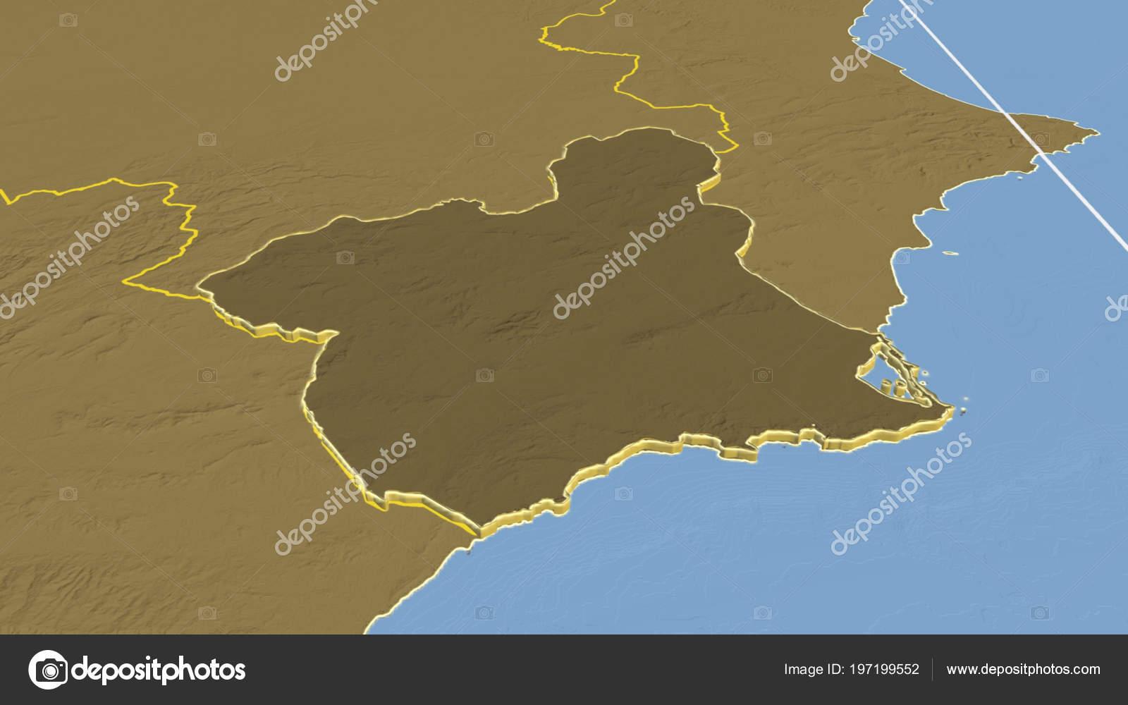 Karta Italien Spanien.Region Murcia Region Spanien Pressad Bilevel Hojd Karta