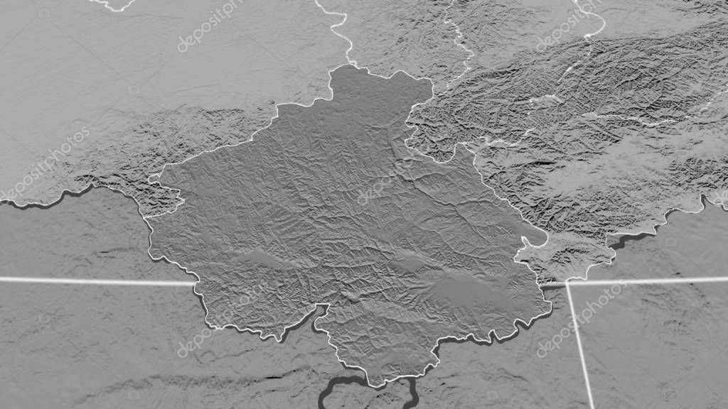 Gorno-Altay, region of Russia outlined. Bilevel elevation map