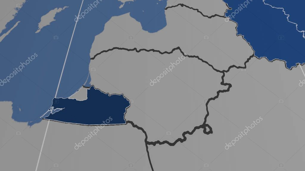 Kaliningrad, region of Russia outlined. Shapes only - land/ocean mask