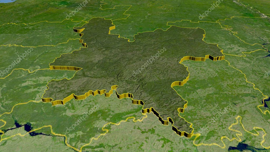 Kirov, region of Russia extruded. Satellite imagery