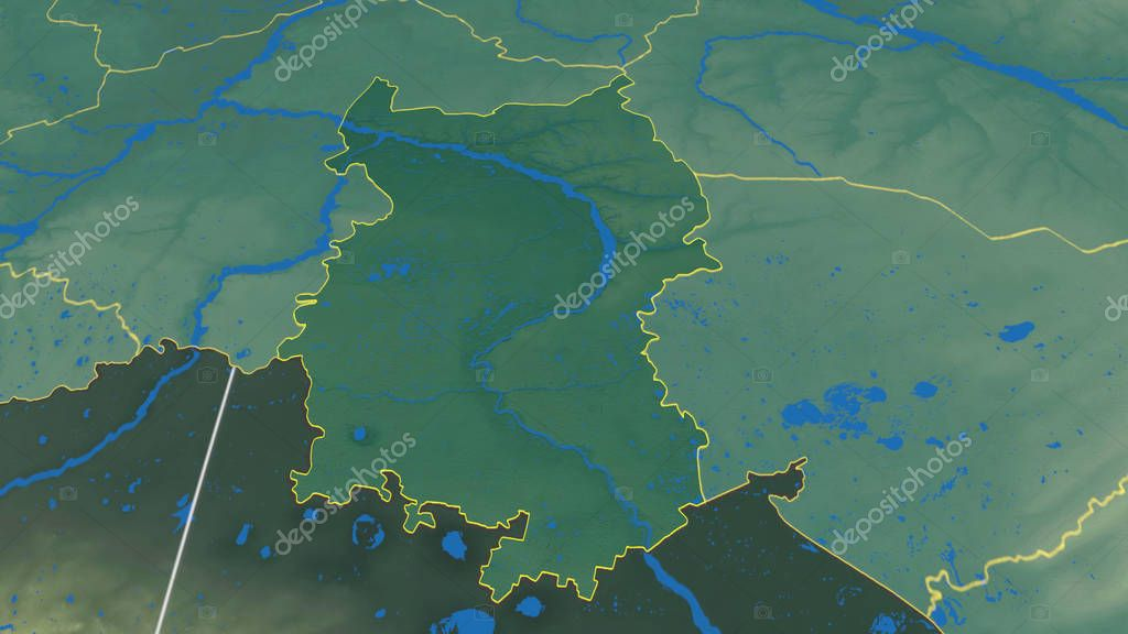 Omsk, region of Russia outlined. Color physical map
