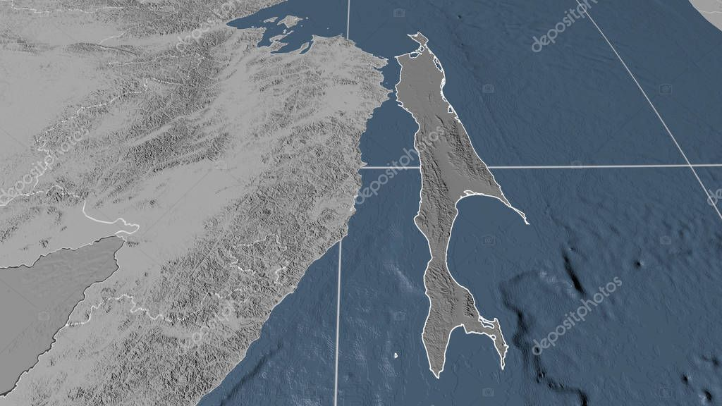 Sakhalin, region of Russia outlined. Bilevel elevation map