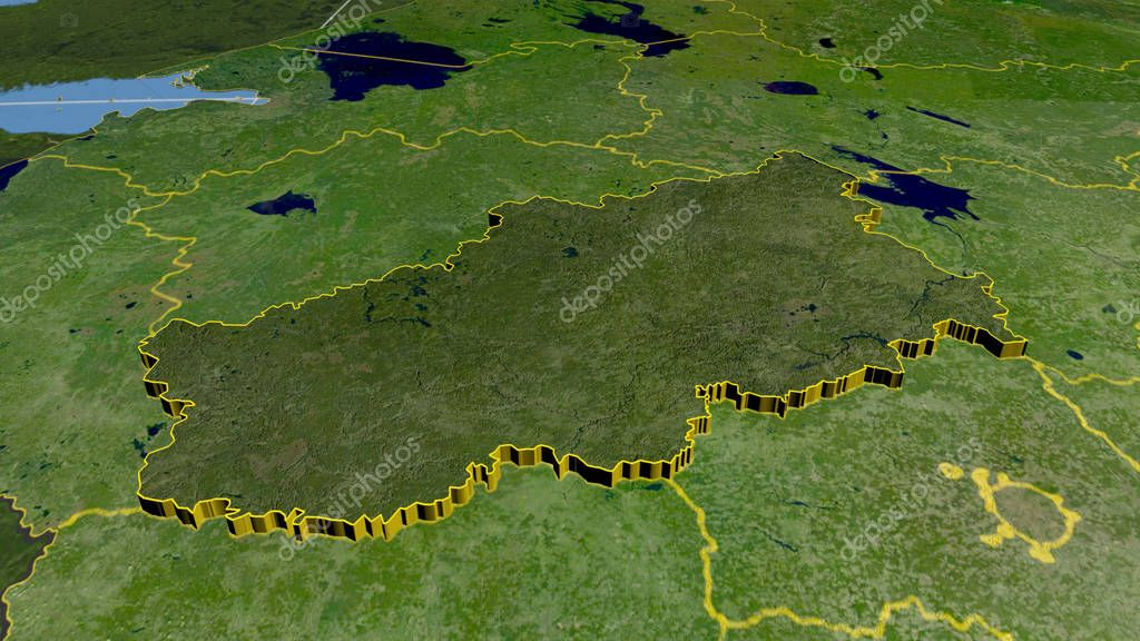 Tver, region of Russia extruded. Satellite imagery