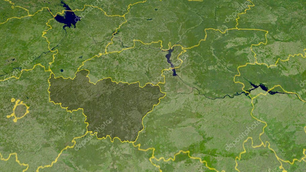 Vladimir, region of Russia outlined. Satellite imagery