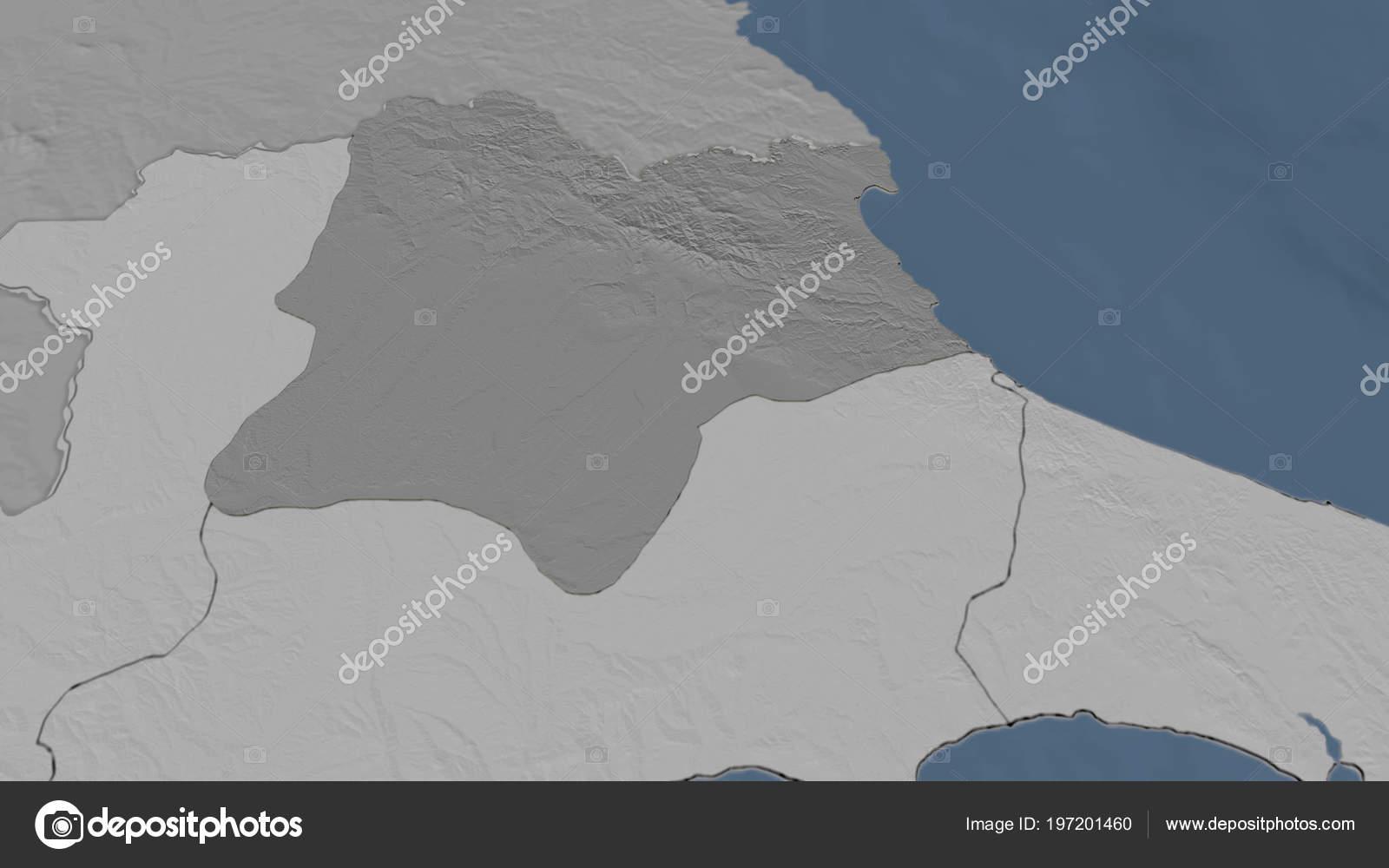 Kirklareli Region Turkey Outlined Bilevel Elevation Map — Stock ...