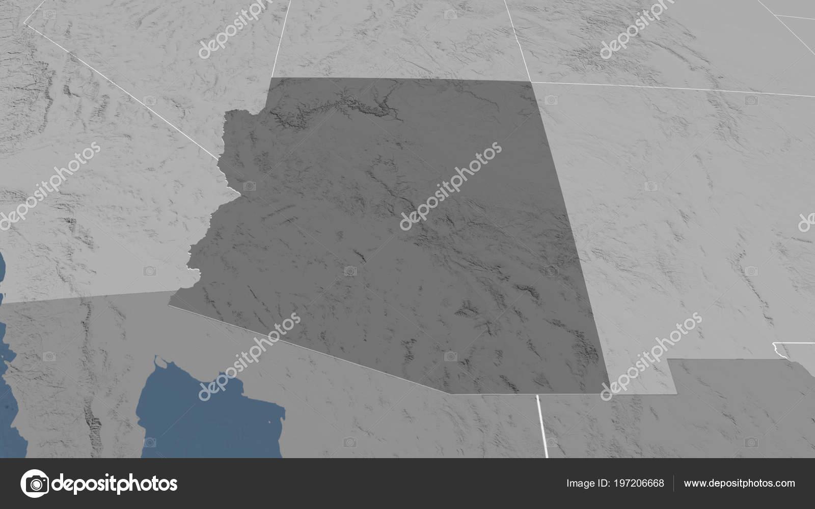 Arizona Region United States Outlined Bilevel Elevation Map Stock
