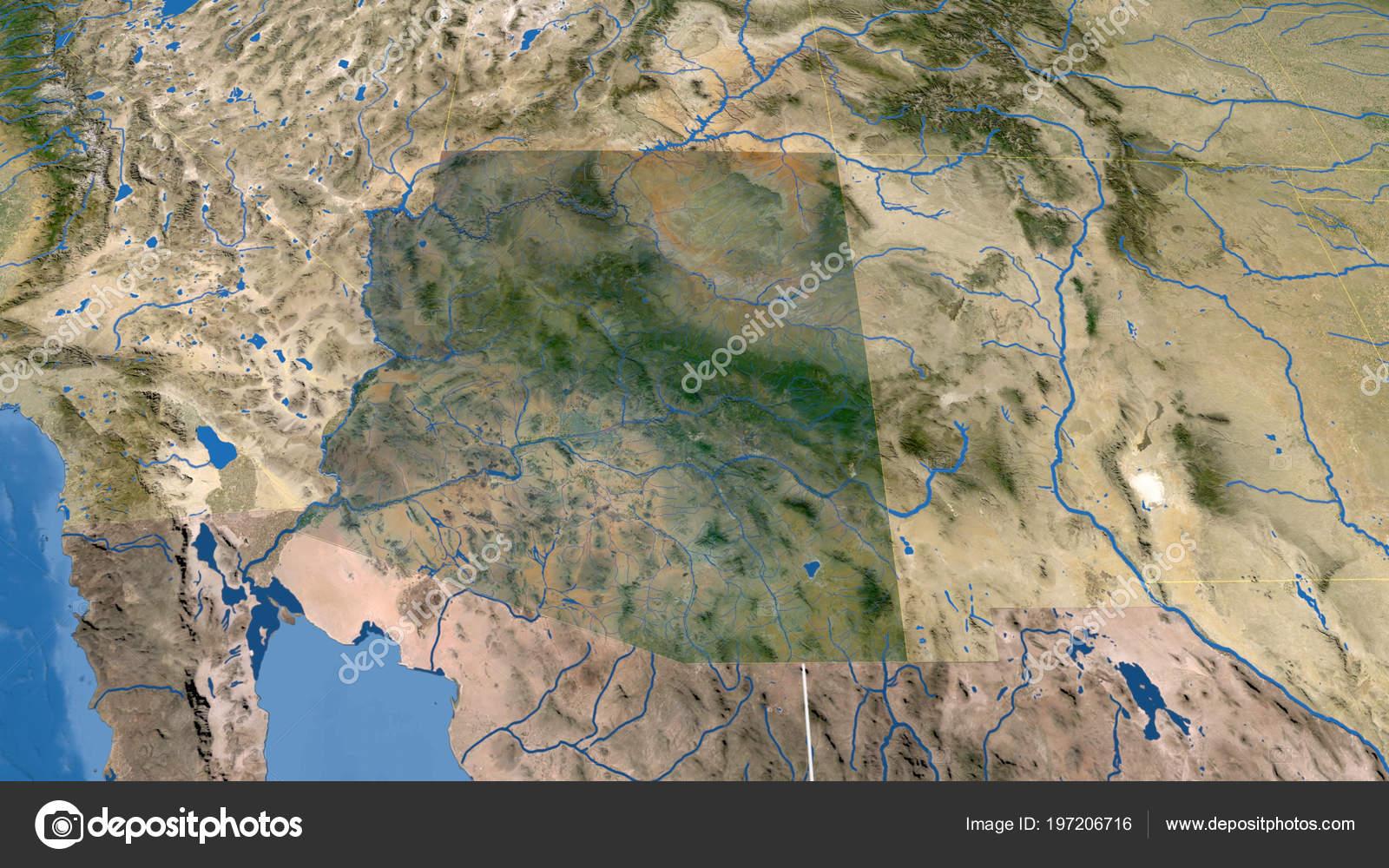Satellite Map Of Arizona.Arizona Region United States Outlined Satellite Imagery Stock