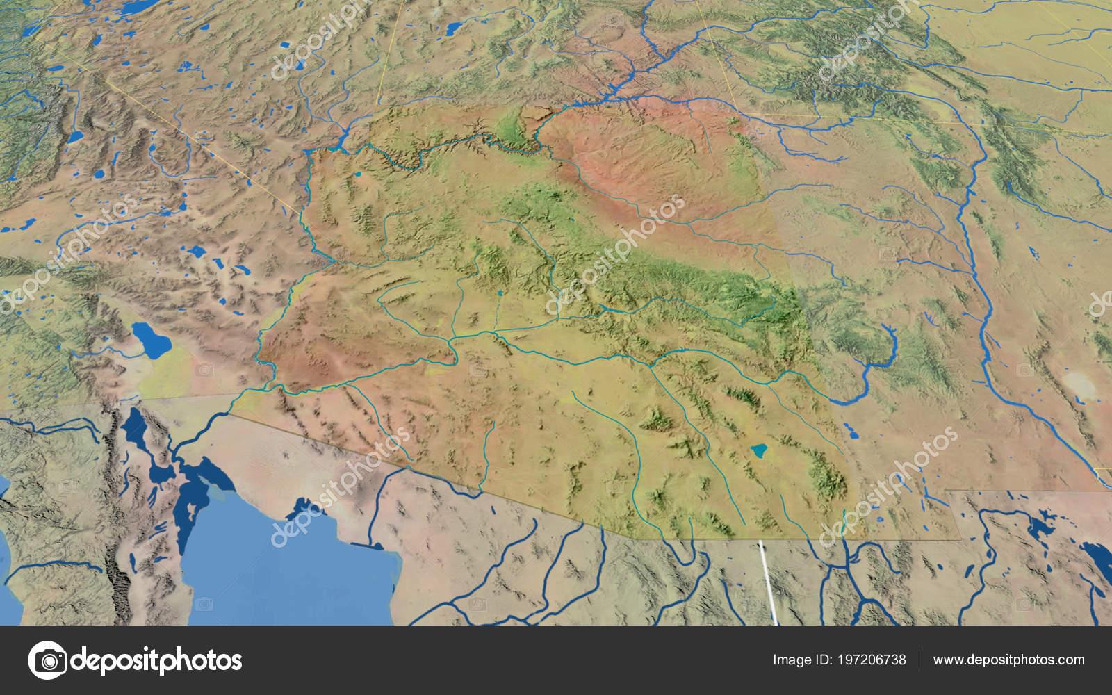 Topographic Map Arizona.Arizona Region United States Extruded Topographic Map Stock Photo