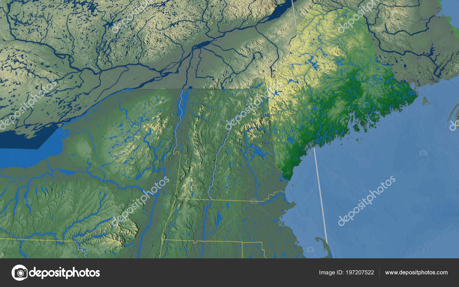 Maine Region United States Outlined Color Physical Map — Stock Photo ...