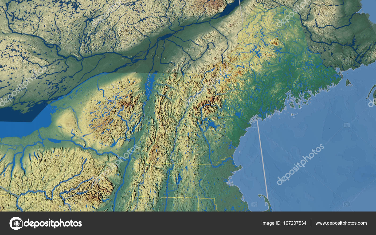 Relief Map Of United States.Maine Region United States Outlined Topographic Relief Map Stock
