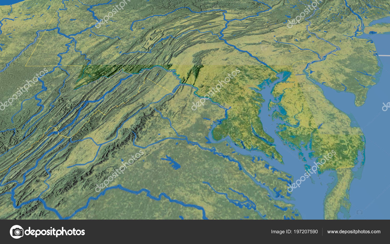 Maryland Region United States Extruded Topographic Map ...
